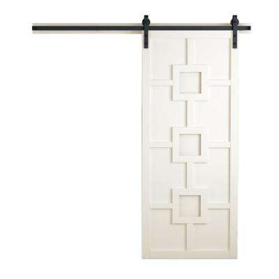 42 in. x 84 in. Mod Squad Off White Wood Barn Door with Sliding Door Hardware Kit
