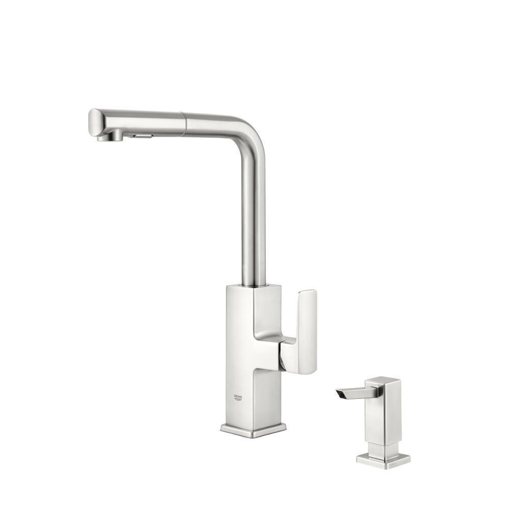 Grohe Tallinn Single Handle Pull Out Sprayer Kitchen Faucet With Soap Dispenser In Supersteel Infinityfinish 30367dc0 The Home Depot