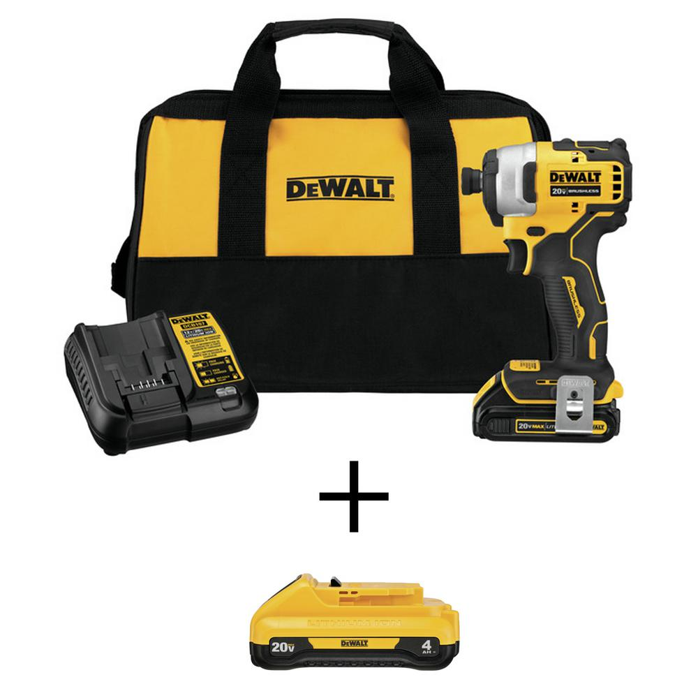 DEWALT ATOMIC 20-Volt MAX Li-Ion Brushless Cordless Compact 1/4 in. Impact Driver with Bonus 20-Volt MAX Li-Ion 4.0 Ah Battery