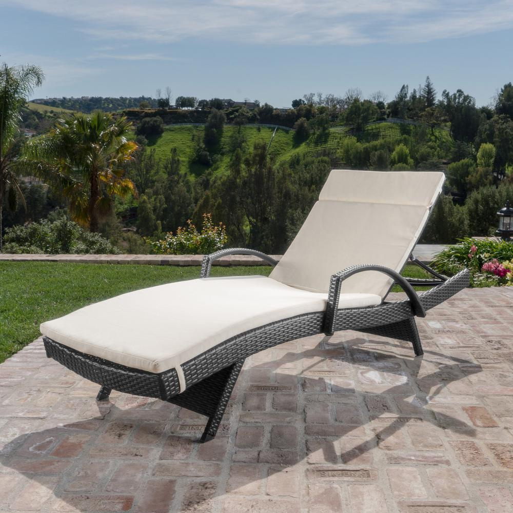 Noble House Miller Grey Wicker Outdoor Chaise Lounge with Beige Cushion and Armrest