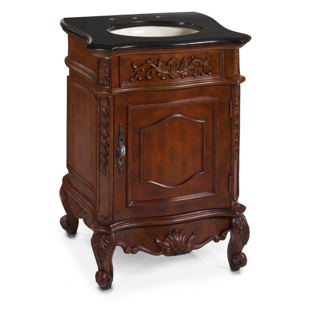 Home Decorators Collection Winslow 26 in. W x 22 in. D Vanity in Antique Cherry with Granite Vanity Top in Black