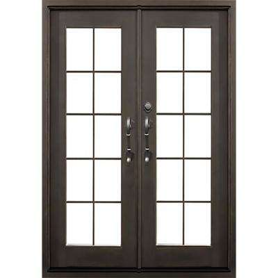 74 in. x 81.5 in. Key Largo Dark Bronze Right-Hand Inswing Painted Iron Prehung Front Door w/ Clear Glass & Hardware