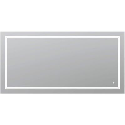 SOHO 84 in. W x 36 in. H Frameless Rectangular LED Light Bathroom Vanity Mirror in Silver