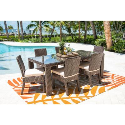 Fiji Brown 7-Piece Wicker Outdoor Dining Set with Off-White Cushions