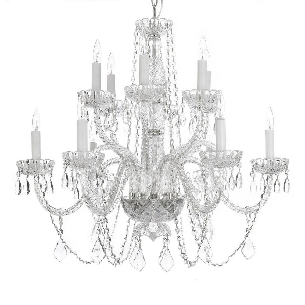 Venetian Style 12-Light Crystal Chandelier by