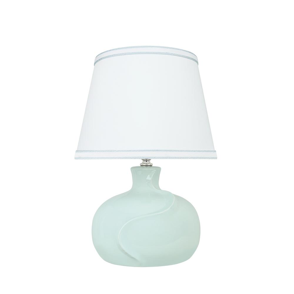 14-1/2 in. Light Blue Ceramic Table Lamp with Hardback Empire Shaped Lamp Shade in White