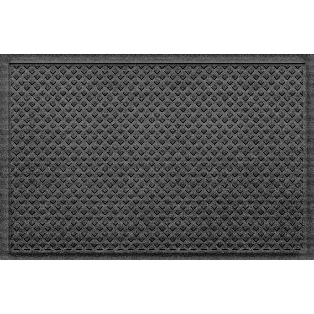AquaShield Aqua Shield Gems Charcoal 24 in x 36 in Polypropylene Door Mat, Grey