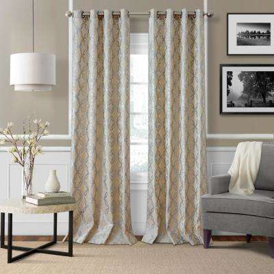 Zelda Metallic Pewter Printed Single Window Curtain Panel - 50 in. W x 95 in. L