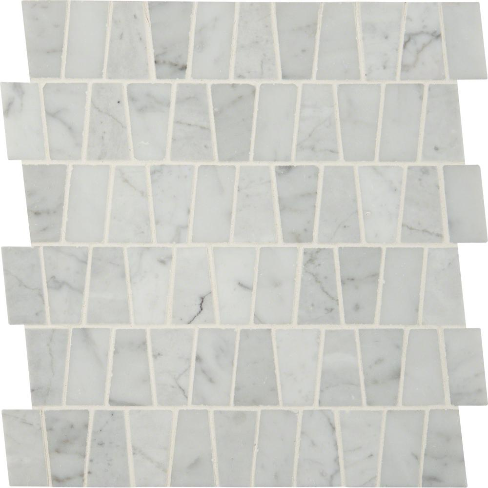 Carrara White Trapezoid Pattern 12 in. x 12 in. x 10mm Polished Marble Mesh-Mounted Mosaic Tile (10 sq. ft. / case)