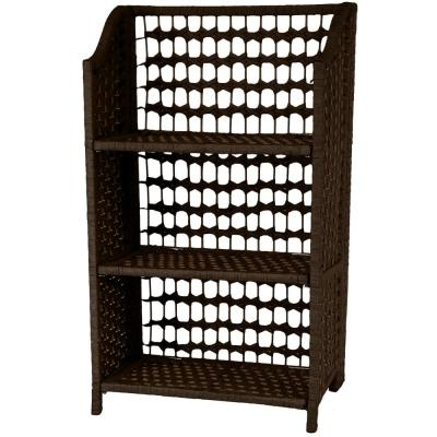 3-Shelf Mocha Natural Fiber Shelving Trunk