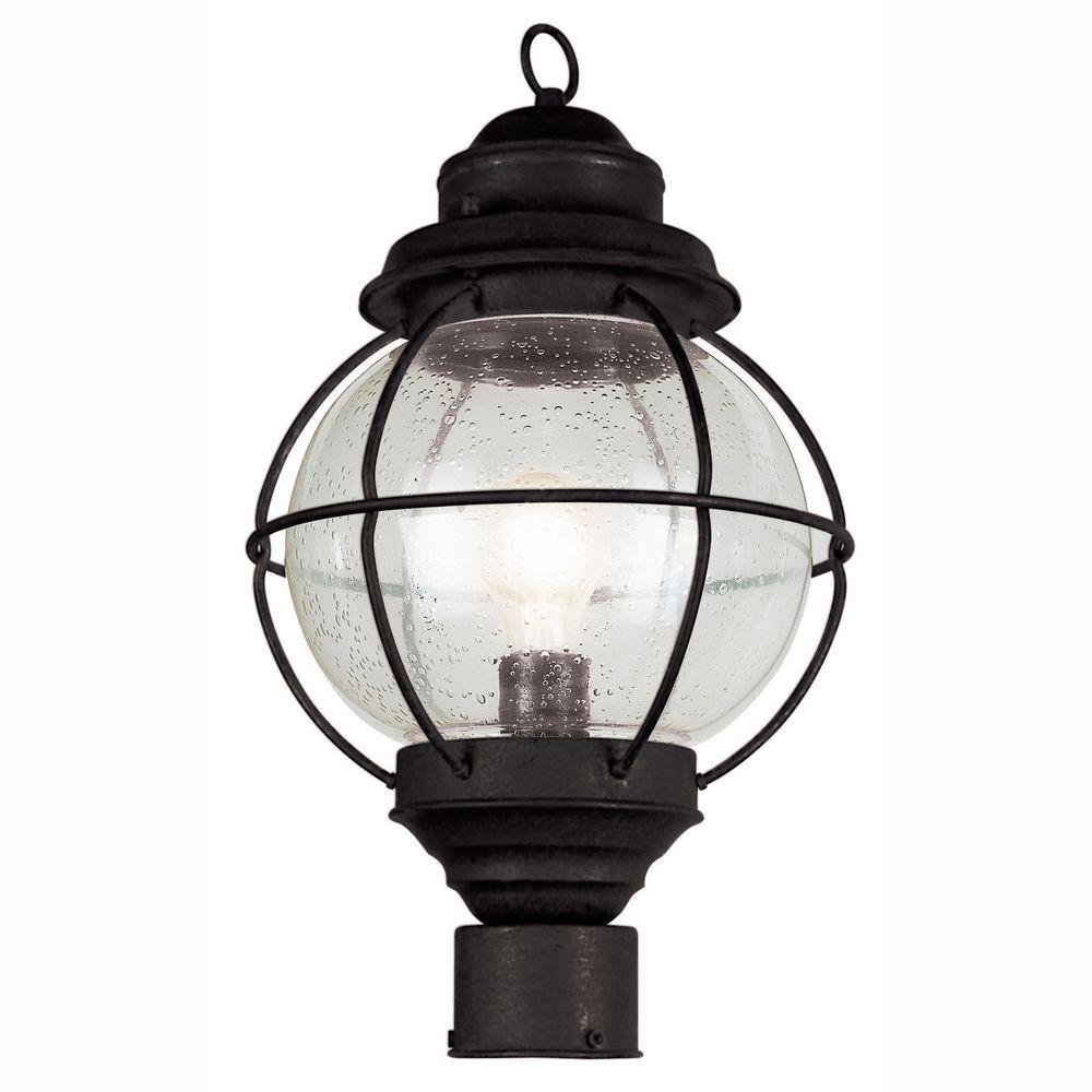Bel Air Lighting Lighthouse 1 Light Outdoor Black Post Top Lantern With Seeded Gl