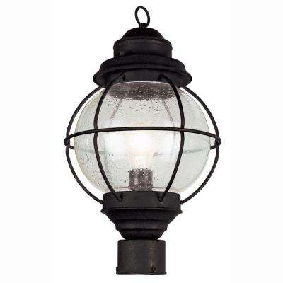 Lighthouse 1-Light Outdoor Black Post Top Lantern with Seeded Glass