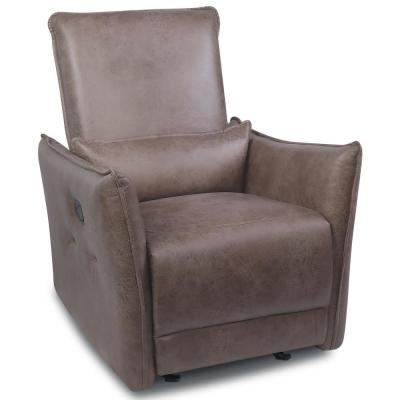 Brown Leather Power Reclining Recliner Chair Adjustable Ergonomic Single Sofa with USB Charging Port and Waist Cushion