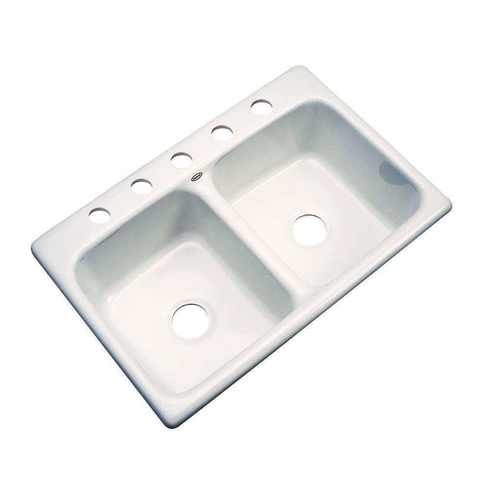 Thermocast Newport Drop-In Acrylic 33 in. 5-Hole Double Bowl Kitchen Sink in Biscuit