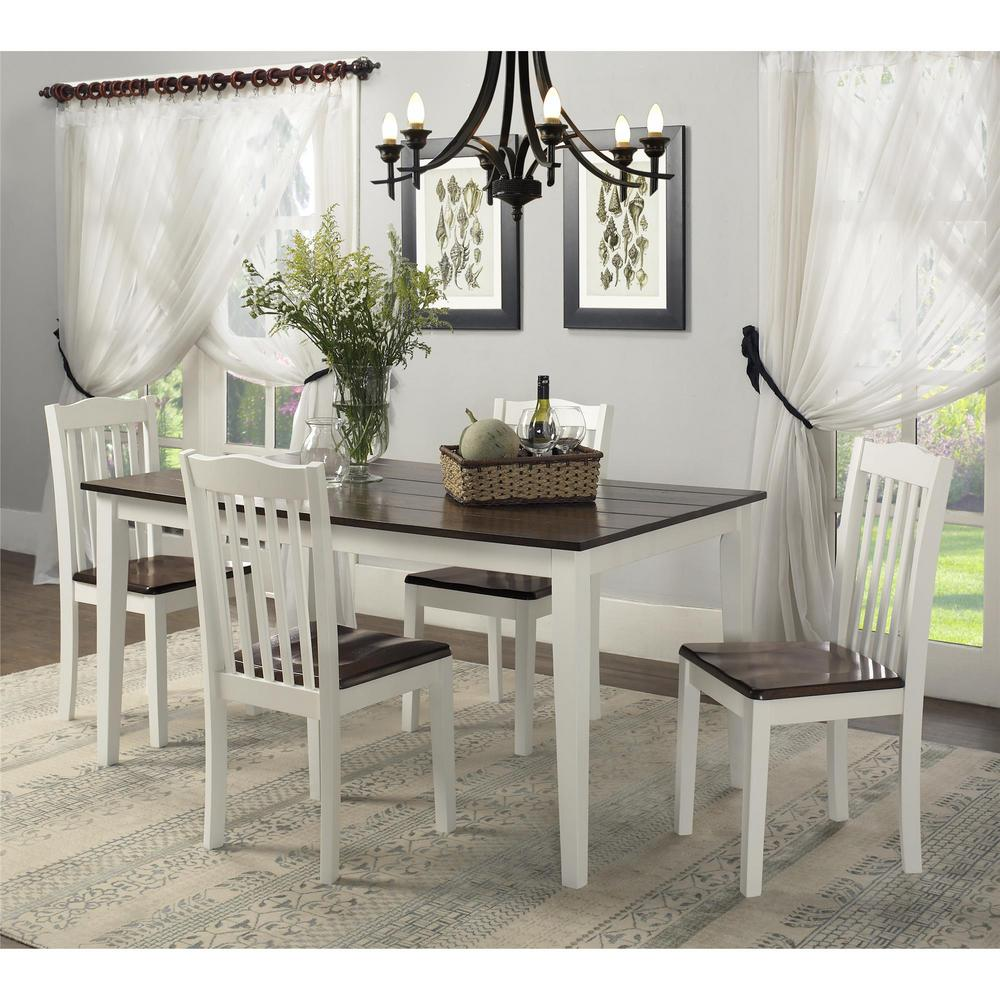 Dorel shiloh 5 piece creamy white rustic mahogany dining for Small white dining room sets