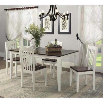 Shiloh 5-Piece Creamy White / Rustic Mahogany Dining Set & Kitchen \u0026 Dining Room Furniture - Furniture - The Home Depot