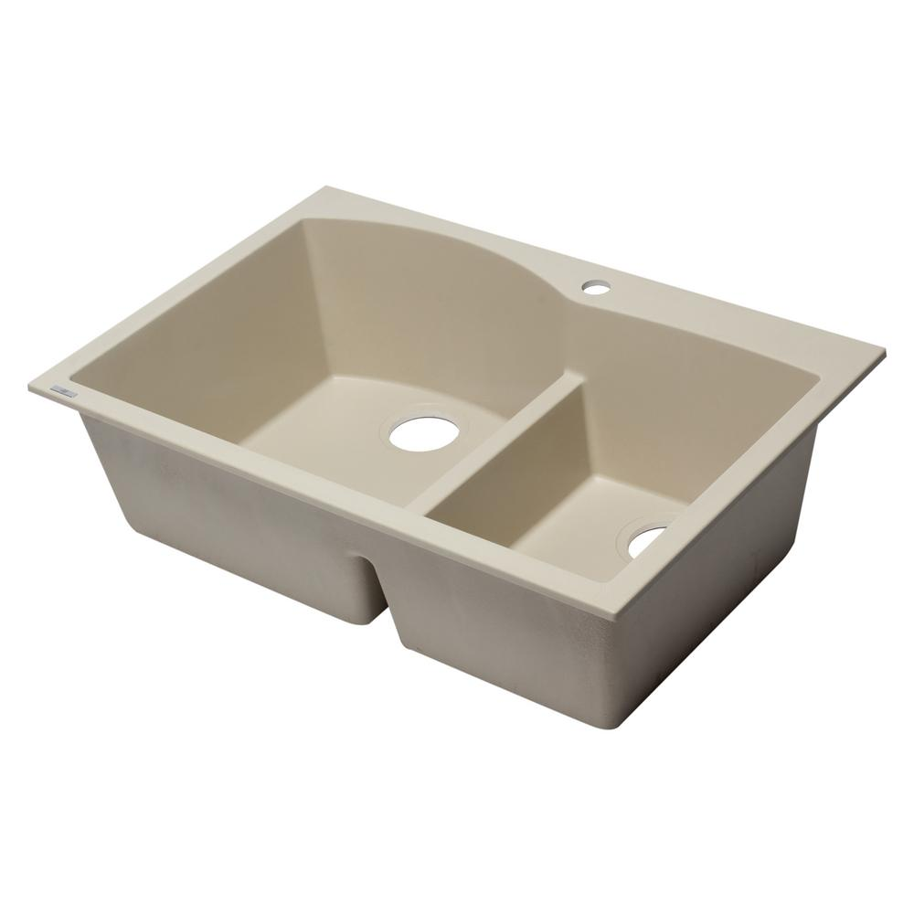 Drop In Granite Composite 33 1 Hole 35 65 Double Bowl Kitchen Sink Biscuit