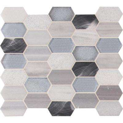 Harlow Picket 12 in. x 12 in. x 8mm Glass Metal Stone Mesh-Mounted Mosaic Tile (9.90 sq. ft. / case)