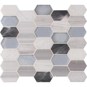 Harlow Picket 12 in. x 12 in. x 8 mm Textured Glass Metal Stone Mesh-Mounted Mosaic Tile (0.99 sq. ft.)