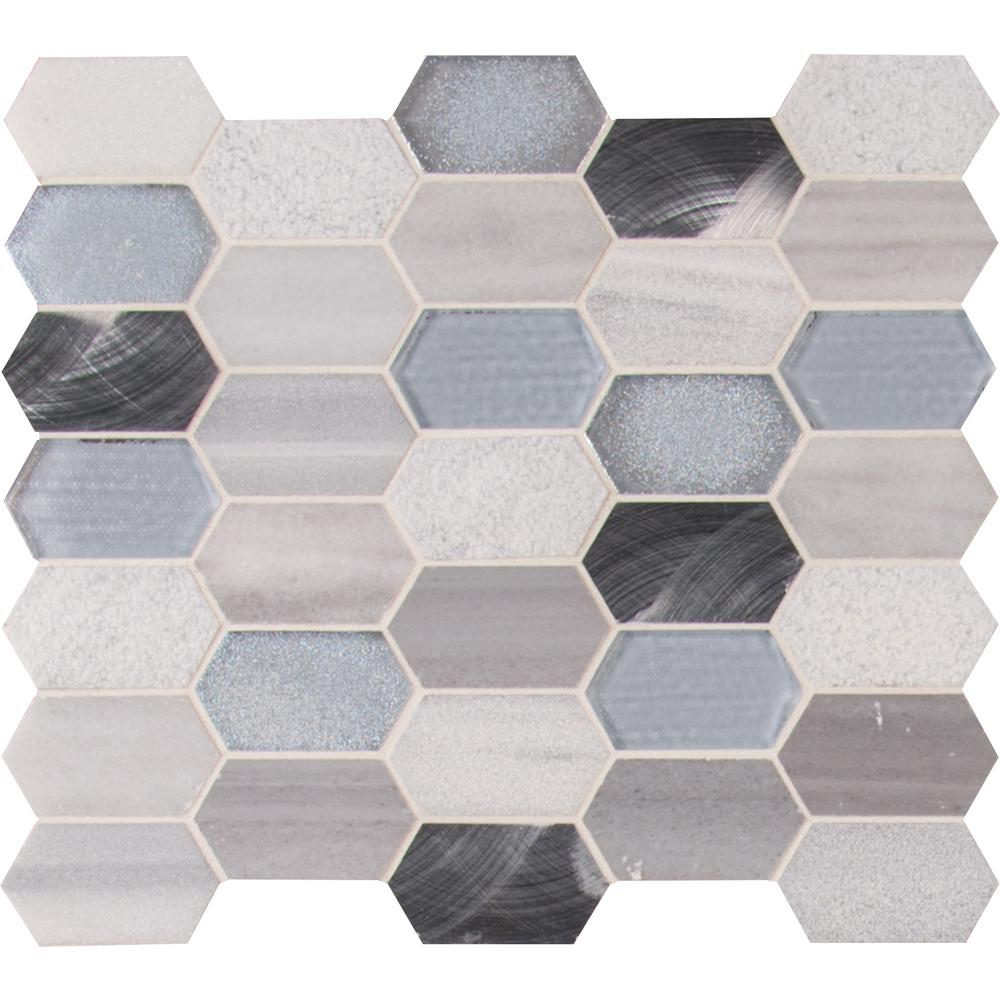 MSI Harlow Picket 12 in. x 12 in. x 8 mm Glass Metal Stone Mesh-Mounted Mosaic Tile