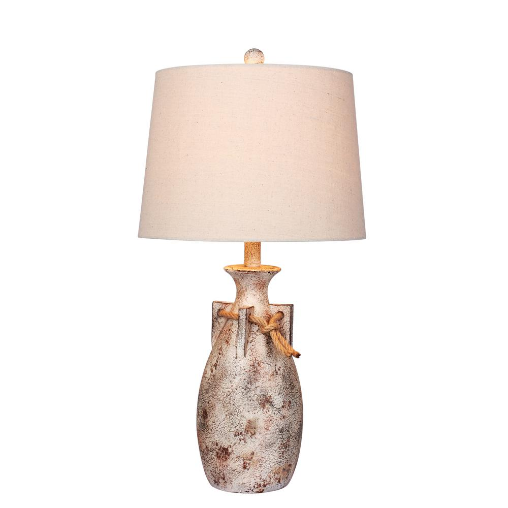 distressed table lamps living room antique white distressed jug with rope collar resin table lamp fangio lighting 275 in