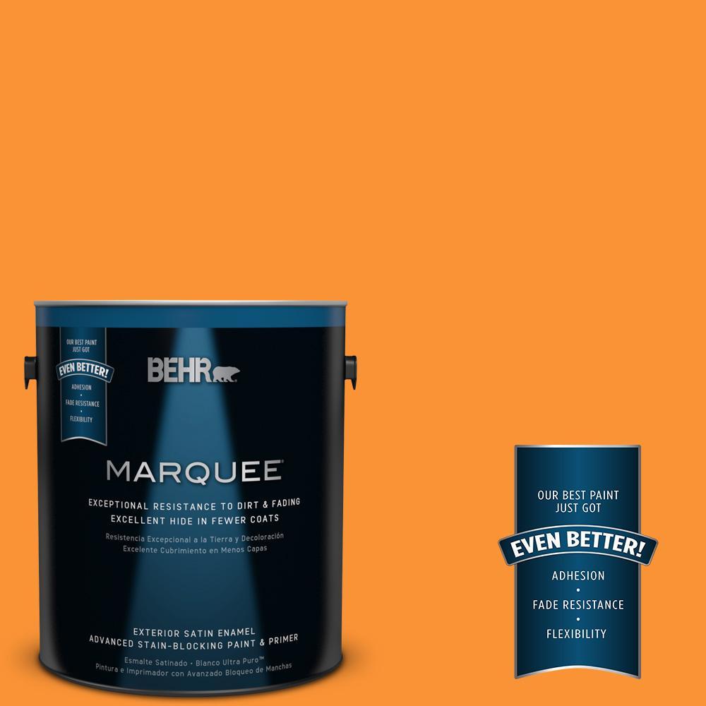 #P240-7 Joyful Orange Satin Enamel Exterior Paint-945301 - The Home Depot