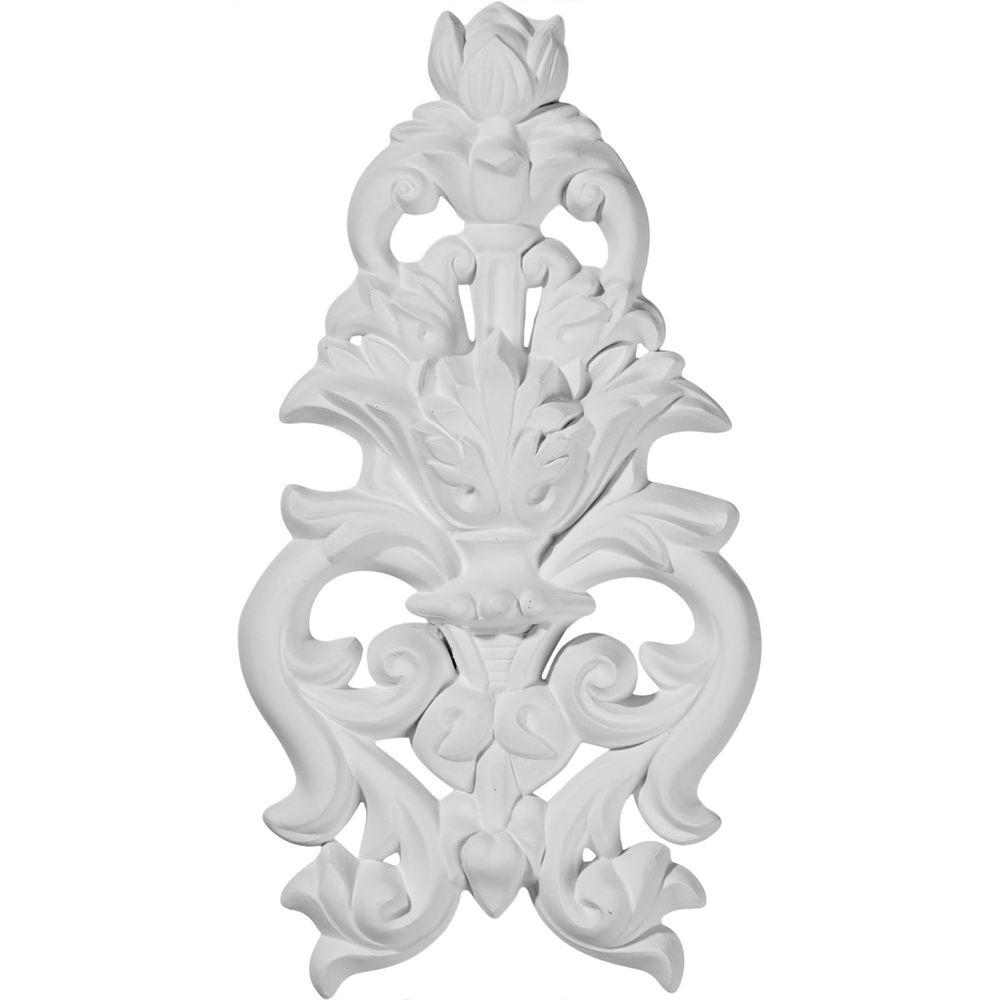 Ekena Millwork 1 in. x 4-7/8 in. x 9-1/2 in. Polyurethane Dauphine Flower and Leaves Drop Onlay