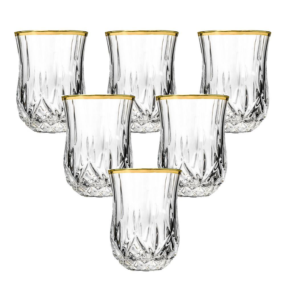 Lorren Home Trends Opera Gold Collection 2 Fl Oz Set Of 6 Crystal Shot Glass With Gold Rim Lg6006 The Home Depot
