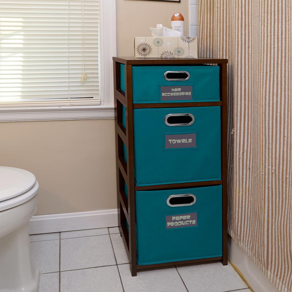 Flip Flop Mocha Walnut and Teal 3-Shelf Folding Bookcase and Storage Tote Set