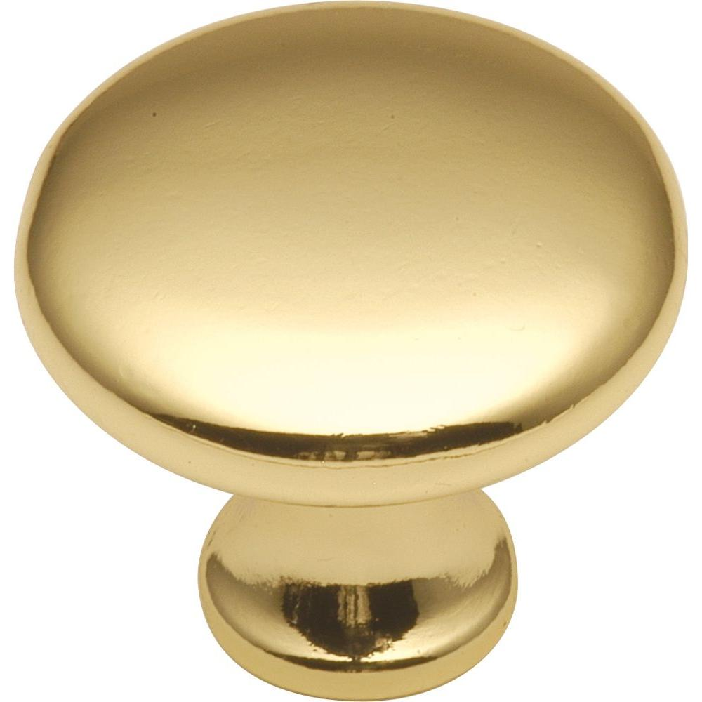 Hickory Hardware Conquest 1 1/8 In. Polished Brass Cabinet Knob