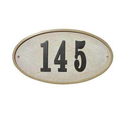 Ridgestone Oval Crushed Stone Address Plaque in Sandstone Stone Color