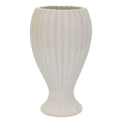 12.25 in. Ceramic Flowr Pot in White