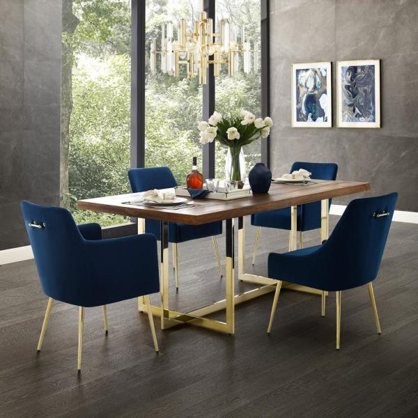 Inspired Home Capelli Navy Gold Velvet Metal Leg Dining Chair Set Of 2 Dc91 02ny2 Hd The Home Depot
