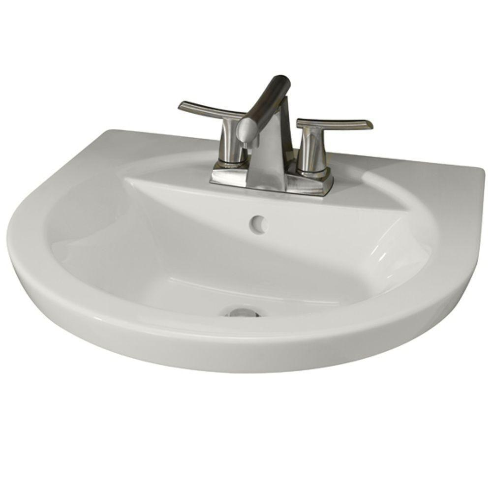 American Standard Tropic Petite 21 In. Center Pedestal Sink Basin With 4  In. Faucet Centers In White 0403.004.020   The Home Depot