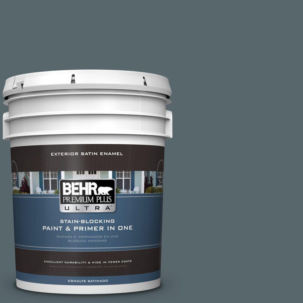 BEHR Premium Plus Ultra 5-gal. #N470-6 Whale Gray Satin Enamel Exterior Paint