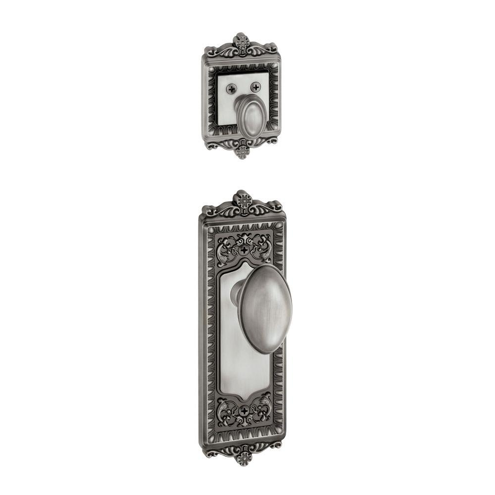 Grandeur Windsor Single Cylinder Antique Pewter Combo Pack Keyed Differently with Eden Prairie Knob and Matching Deadbolt