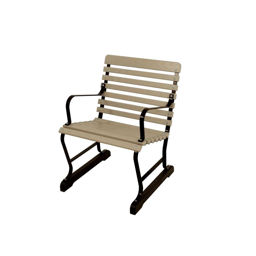 Ivy Terrace 22 in. Black and Sand Patio Arm Chair