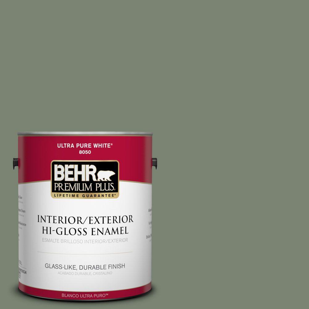 BEHR Premium Plus 1-gal. #ICC-77 Sage Green Hi-Gloss Enamel Interior/Exterior Paint