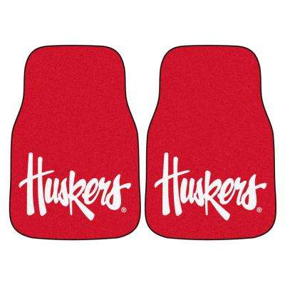 NCAA University of Nebraska 17 in. x 27 in. 2-Piece Set of Carpet Car Mats