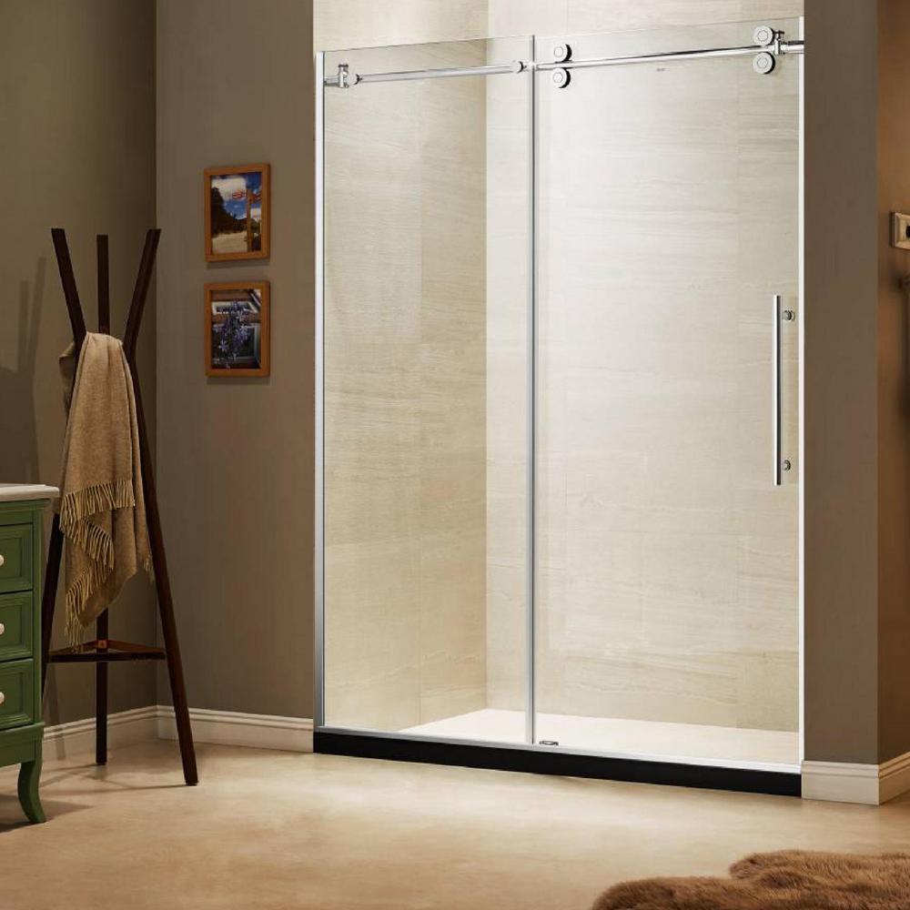 60 in. x 79 in. Frameless Sliding Shower Door in Stainless Steel
