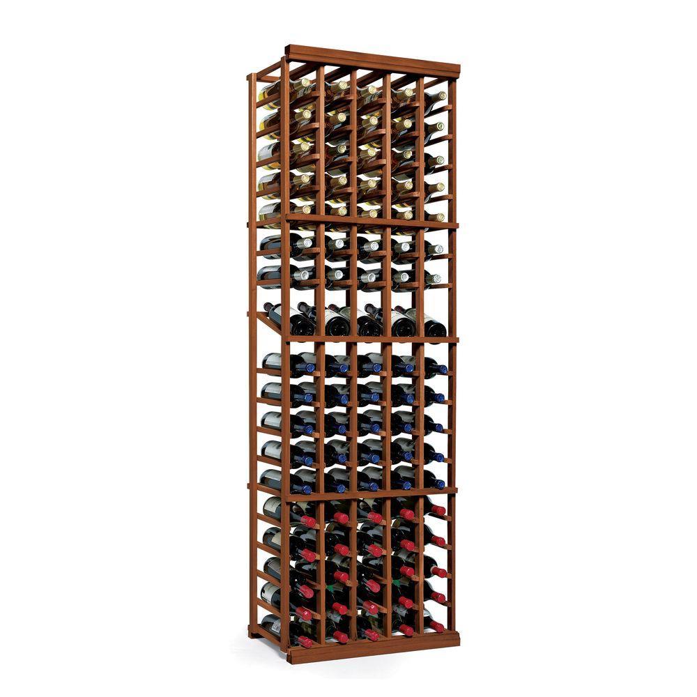 Wine Enthusiast N'Finity 90-Bottle Dark Walnut Floor Wine Rack