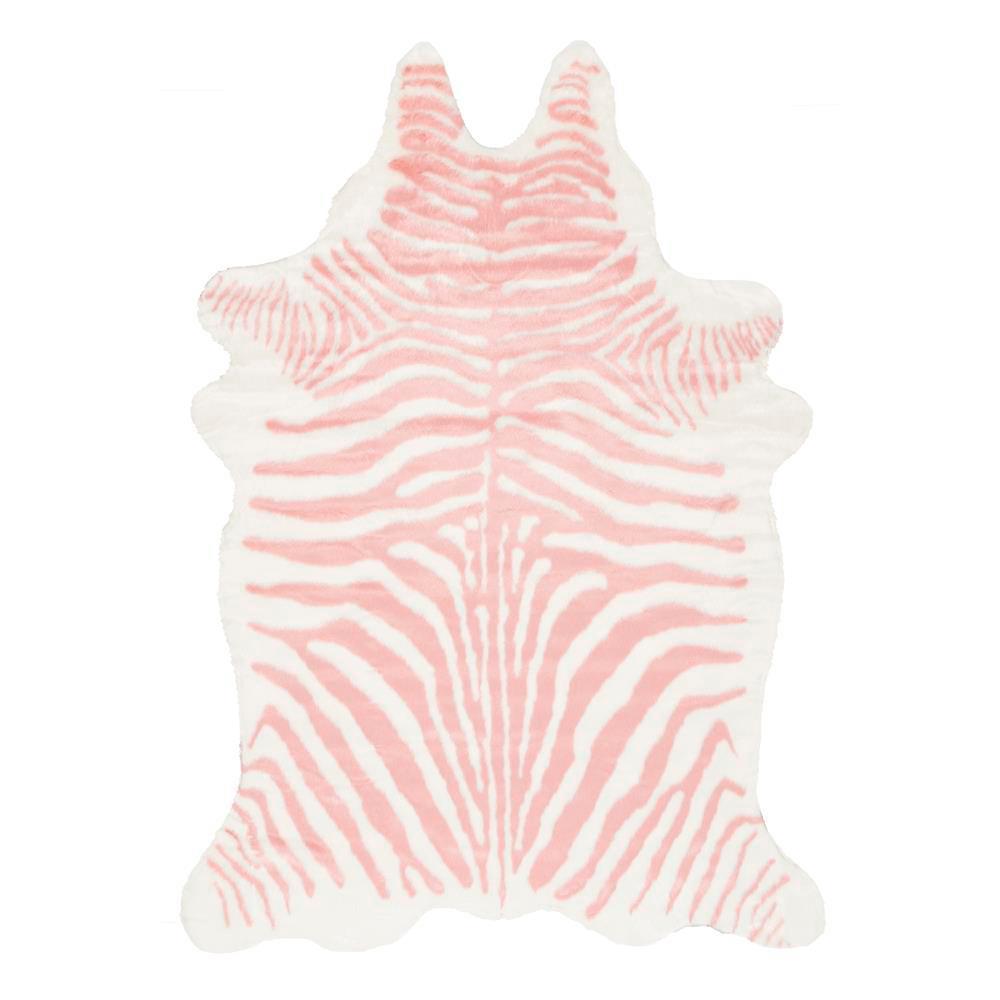 Faux Zebra Hide Pink 5 ft. x 7 ft.  Shaped Rug