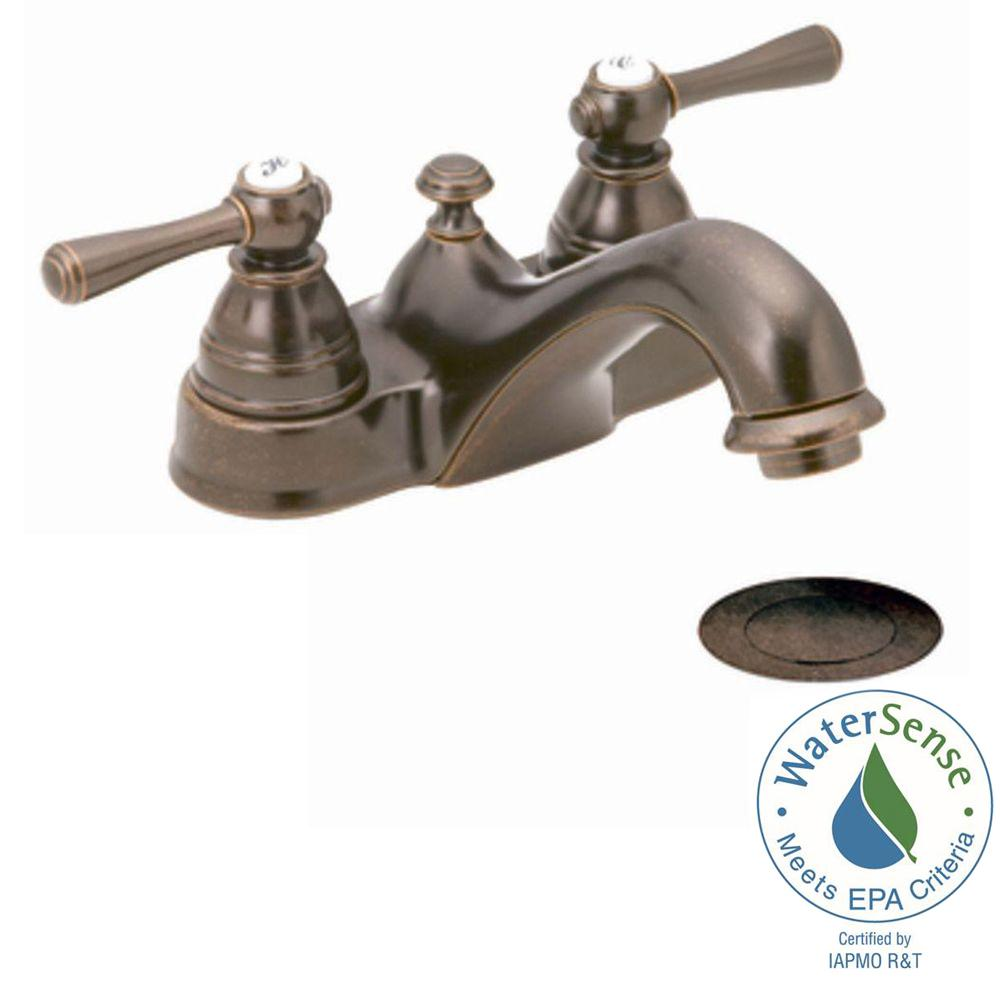 MOEN Kingsley 4 in. Centerset 2-Handle Bathroom Faucet in Oil Rubbed ...
