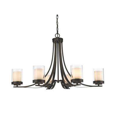 Wesson 6-Light Dark Bronze Modern Rustic Chandelier with Clear Outside, Matte Opal Inside Glass Shades