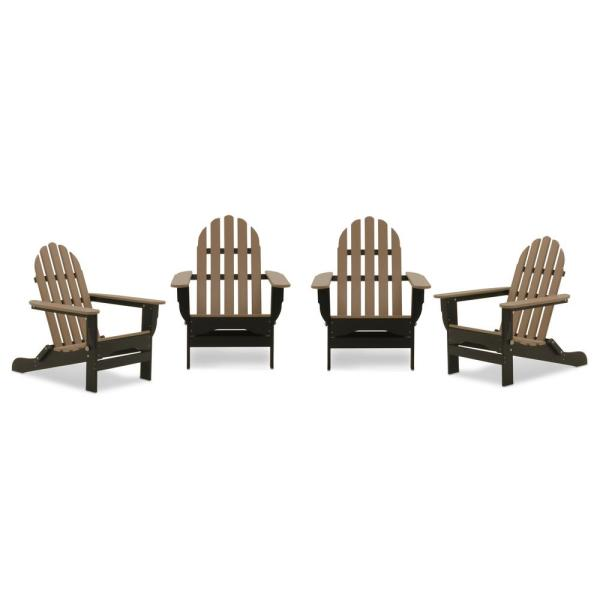 Icon Black and Weathered Wood Recycled Plastic Folding Adirondack Chair (4-Pack)