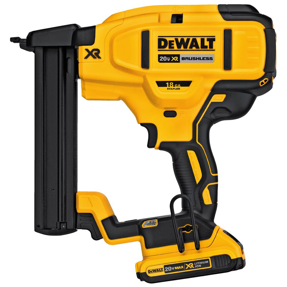 DeWalt 20-Volt MAX XR Lithium-Ion Cordless 18-Gauge Narrow Crown Stapler Kit with Battery 2Ah, Charger and Contractor Bag