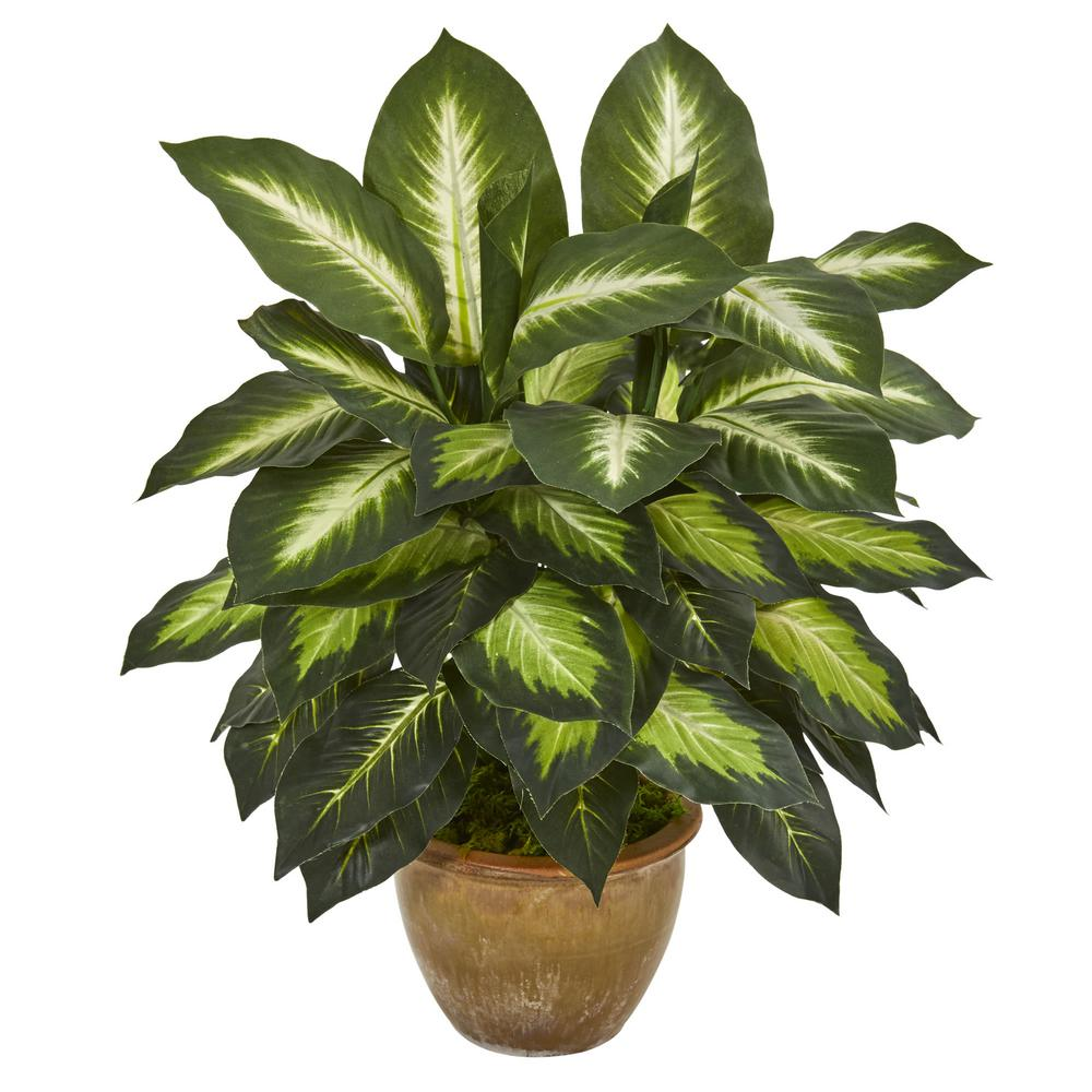 Indoor Dieffenbachia Artificial Plant in Ceramic Planter