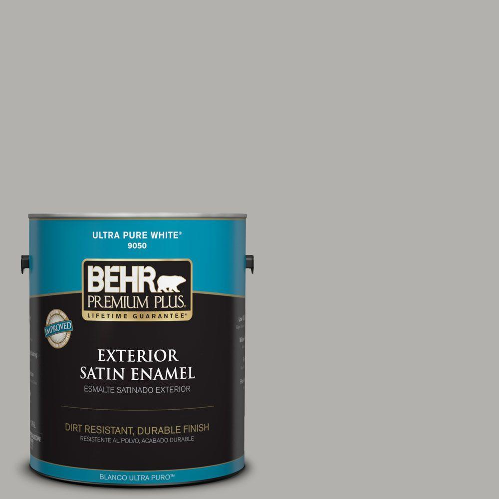BEHR Premium Plus 1-gal. #BXC-25 Colonnade Gray Satin Enamel Exterior Paint