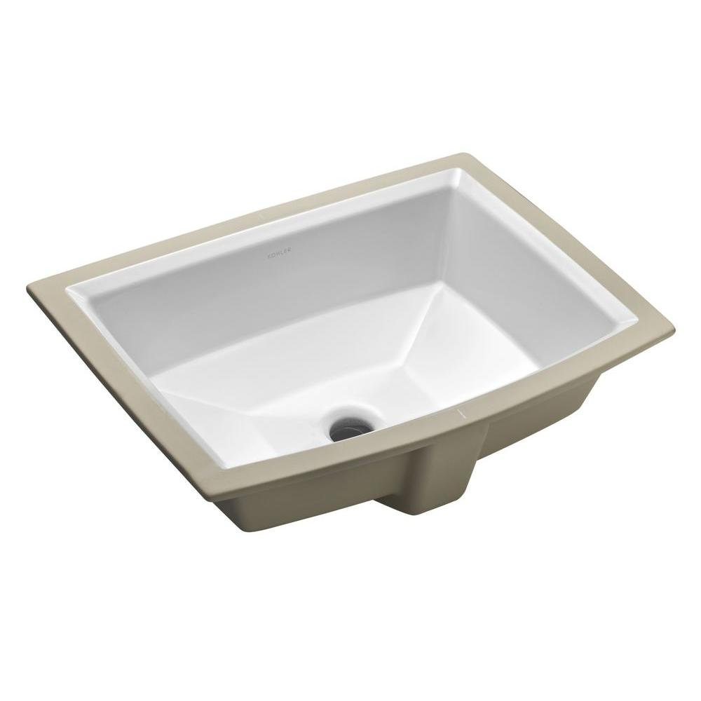 KOHLER Archer Vitreous China Undermount Bathroom Sink in White with  Overflow Drain