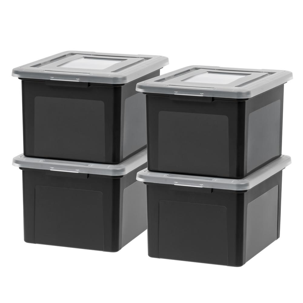 IRIS 35 Qt  Dual Purpose Letter and Legal-Size File Storage Box in Black  (4-Pack)